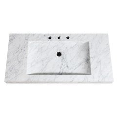 43 Inch Stone Integrated Sink Top - Carrera White Marble