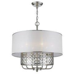 Everett 6-Light Pendant with Hardbacked Fabric Shade - Brushed Nickel