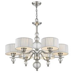 Sansa 6-Light Chandelier with Silver Shade & Crackled Glass - Brushed Nickel