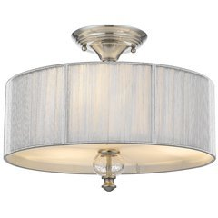 Sansa 2-Light Semi-Flushmount with Silver Shade & Crackled Glass -Brushed Nickel