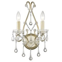 Camellia 2-Light Washed Gold Sconce with Crystals - Washed Gold