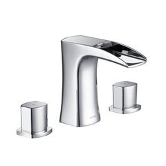 Cascade Modern/Contemporary Three Holes Bathroom Faucet - Chrome
