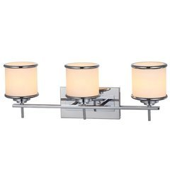 Bayley 3-Light LED Bath Bar with Etched Glass Drum Shade - Polished Chrome