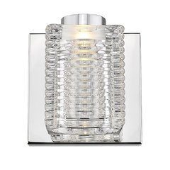 Lawson 1-Light LED Bath Sconce with Stacked Glass Shade - Mirror Stainless Steel