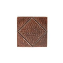 4 x 4 Inch Copper Tile with Diamond Design