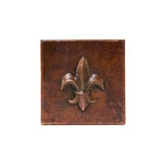 4 x 4 Inch Copper Tile with Fleur De Lis