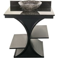 30 Inch Cruz Vanity & Granite Top w/ Pebble Vessel Sink- Black / Black Top