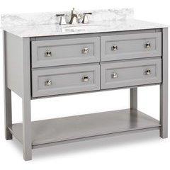 """48"""" Grey Adler Vanity - w/ Marble Top and Bowl"""