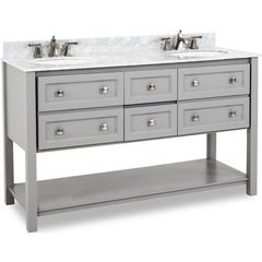 "60"" Grey Adler Double Vanity - w/ Marble Top and Bowl"