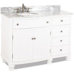 "48"" Compton White Transitional Vanity - w/Marble Top"