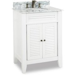 "28"" Lindley White Transitional Vanity - w/ Marble Top"