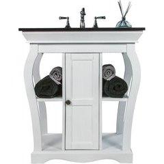 30 Inch Vineta Single Sink Bathroom Vanity with Black Nickel Oceana Undermount Sink - White