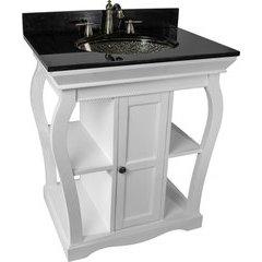 30 Inch Vineta Single Sink Bathroom Vanity with Black Nickel Pebble Undermount/Drop-In Sink - White