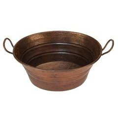15.5 x 12 Inch Oval Bucket Vessel/Above Counter Sink w/ Handles - Bronze