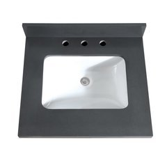 25 Inch Gray Quartz Vanity Top with Rectangular Undermount Sink
