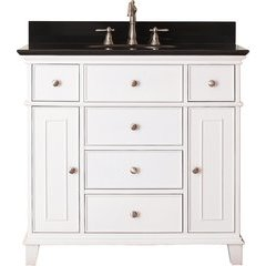"37"" Windsor Single Vanity - Black Granite Top"