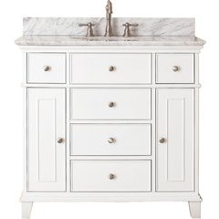 "37"" Windsor Single Vanity - Carrera White Marble Top"