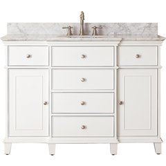 "49"" Windsor Single Vanity - Carrera White Marble Top"