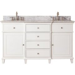 "61"" Windsor Double Vanity - Carrera White Marble Top"