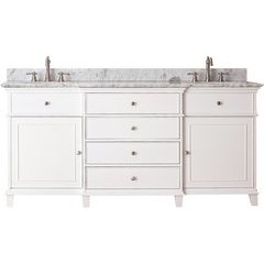 "73"" Windsor Double Vanity - Carrera White Marble Top"