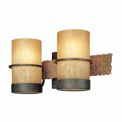 Bamboo 2 Light Bathroom Vanity Light - Bamboo Bronze/Natural