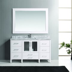 "60"" Stanton Sink Single Bathroom Vanity w/ Mirror - White"