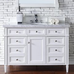 """48"""" Brittany Single Vanity w/Cararra White Top-Cottage White"""