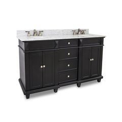 "60"" Douglas Double Sink Bathroom Vanity - Black"