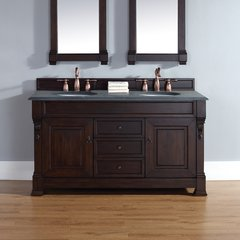 "60"" Brookfield Double Vanity w/ ABS Black Top-Burn Mahogany"