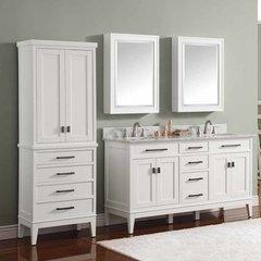 """61"""" Madison Double Vanity - White w/ Carrara White Top"""