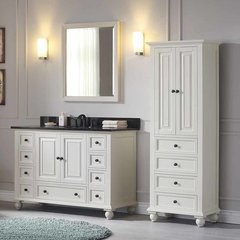 "49"" Thompson Single Vanity - French White w/ Black Top"