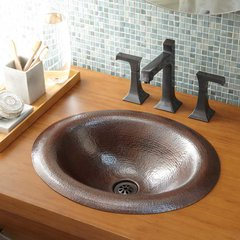 "18"" x 15"" Maestro Lotus Drop-In Bathroom Sink-Antique Copper"