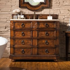 "41"" Regent Single Vanity w/Galala Beige Top-English Burl"