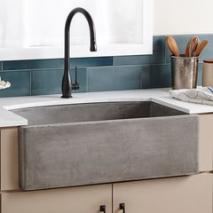 "33"" x 21"" Farmhouse Quartet Kitchen Reversible Sink - Ash"