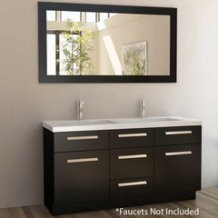 "60"" Moscony Double Sink Bathroom Vanity - Espresso"