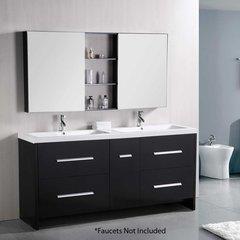 "72"" Perfecta Double Sink Bathroom Vanity - Espresso"