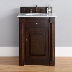 "26"" New Haven Single Vanity w/ Santa Cecilia Top-Burn Mahog"