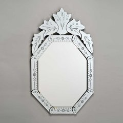 """Radiance Venetian 20"""" Wall Mount Oval Mirror - Etched"""