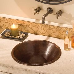 "17-1/2"" Round Cazo Drop-In Bathroom Sink - Antique Copper"