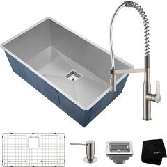 "31"" Undermount Single Bowl Kitchen Sink Package Stainless"