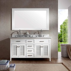 "61"" Kensington Double Sink Bathroom Vanity - White"
