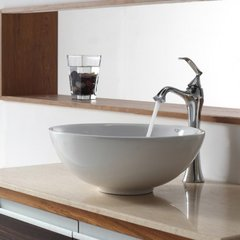 "15"" White Round Vessel Sink w/ Faucet - White/Chrome"