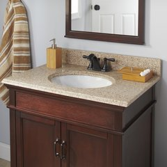 25 x 22 Inch Single Bowl Vanity Top Only with 4 Inch Faucet - Beige