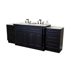 "93"" Double Sink Bathroom Vanity - Dark Mahogany/White Top"