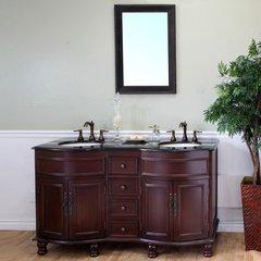 "62"" Double Sink Bathroom Vanity - Colonial Cherry/Black Top"