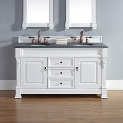 "60"" Brookfield Double Vanity w/ ABS Black Top-Cott White"