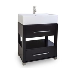 """28"""" Wells Vessel Sink Bathroom Vanity - Black"""