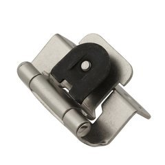 Single Demountable 1/2 inch Overlay Hinge Pair Satin Nickel