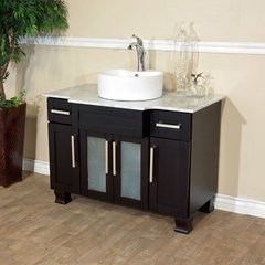 "40"" Single Vessel Bathroom Vanity - Dark Mahogany/White Top"
