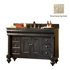 "48"" Guild Hall Single Vanity w/ Gold Top - Distressed Black"